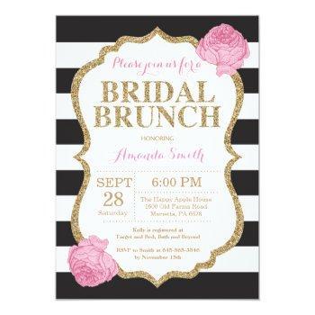 black pink and gold bridal brunch invitation