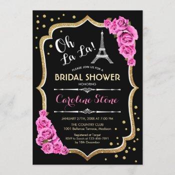 black pink french style bridal shower invitation
