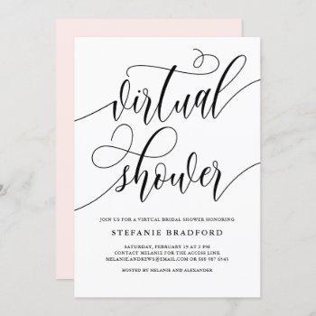 black pretty script virtual bridal shower invitation