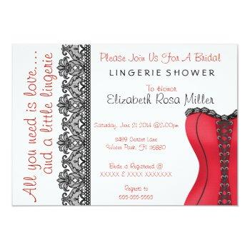 black & red corset lingerie bridal shower invite