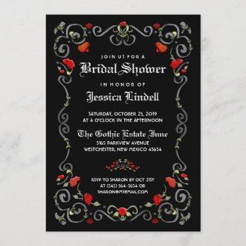 black & red love halloween gothic bridal shower invitation