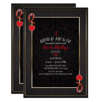 black & red queen of hearts bridal shower invitation