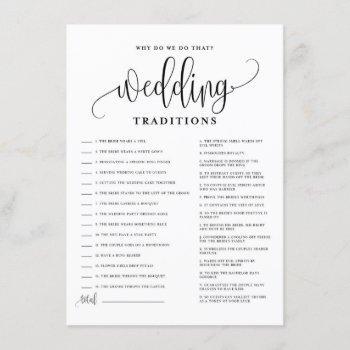 black script wedding traditions bridal shower game enclosure card