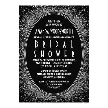 black & silver art deco bridal shower invitations