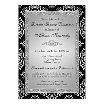black, silver glitter damask bridal shower invite