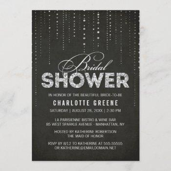 black & silver glitter look bridal shower invitation