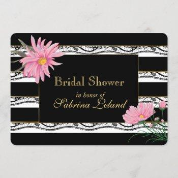 black stripes and lace  pink floral bridal shower invitation