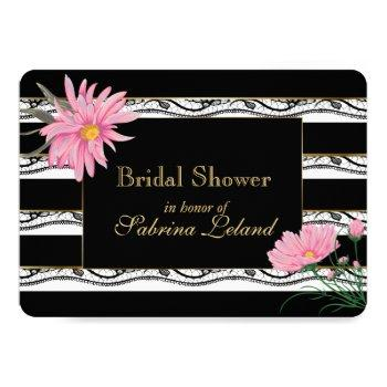 black stripes and lace  pink floral bridal shower invitation