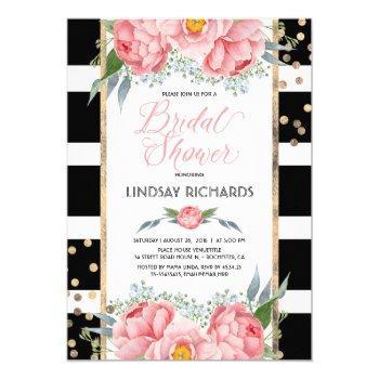 black stripes gold and pink floral bridal shower invitation