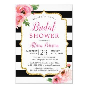 black stripes pink floral bridal shower invitation