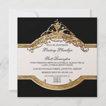 black tie elegance 2, golden couples shower invite