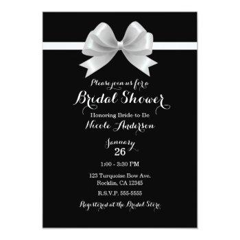 black & white bow classy elegant bridal shower invitation