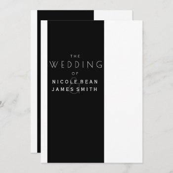 black & white elegant modern simplistic wedding invitation
