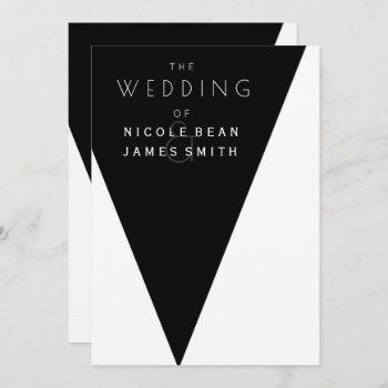 black & white elegant modern wedding event invitation