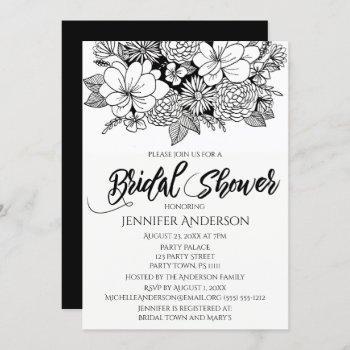 black white floral bouquet bridal shower invitation