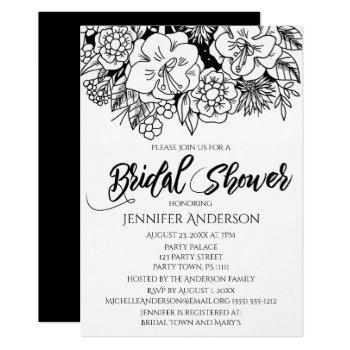 black white floral lily bouquet bridal shower invitation