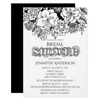 black white floral lily daisy bridal shower invitation