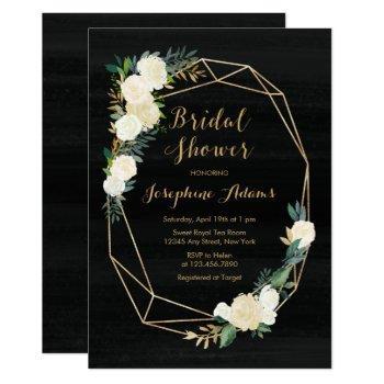 black white gold floral watercolor bridal shower invitation