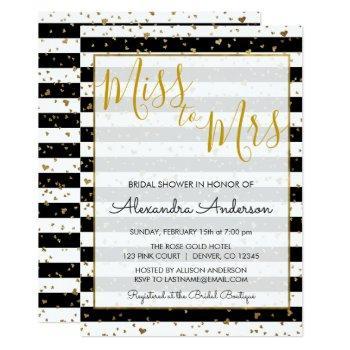 black & white gold foil miss to mrs bridal shower invitation