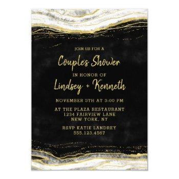 black white & gold geode couple's wedding shower invitation