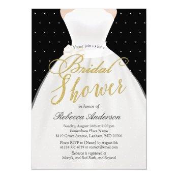 black white gold wedding dress bridal shower invitation