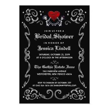 black white halloween skeleton bridal shower invitation
