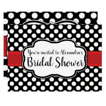 black white polka dot retro pinup bridal shower invitation