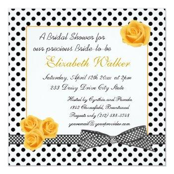 black white polka dot yellow rose bridal shower invitation