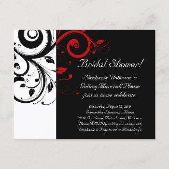 black, white, red swirl bridal shower / general invitation