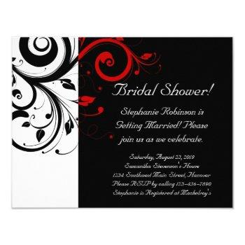 black, white, red swirl bridal shower / general invitation