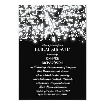 black & white string lights bridal shower invitation