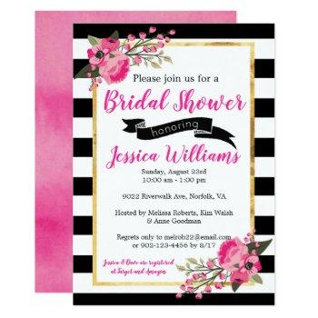black white stripe floral bridal shower invitation