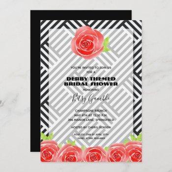 black & white stripes derby bridal shower invites
