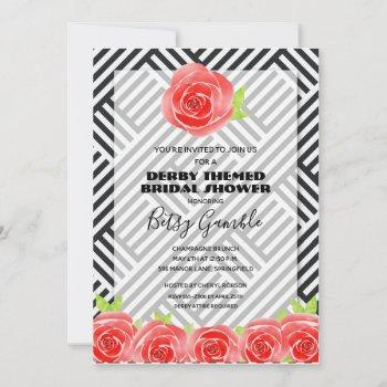 black & white stripes derby bridal shower invites