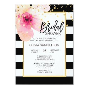 black white watercolor pink floral bridal shower invitation
