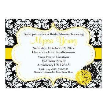 black yellow damask invitation