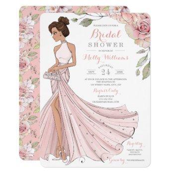 blingy brunette bride bridal shower invitation