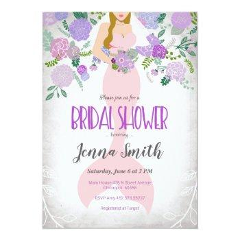 blond floral mermaid bridal shower invitation