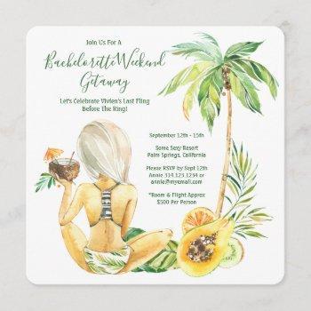 blonde bride bachelorette beach weekend invitation