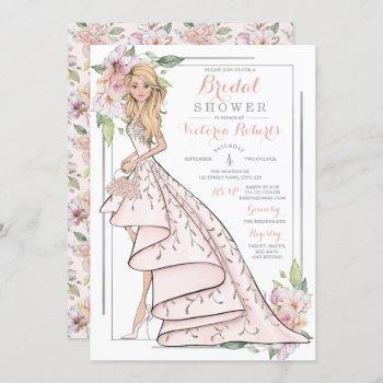 blonde bride floral bridal shower invitation