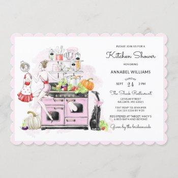 blonde bride retro bridal kitchen shower invitation