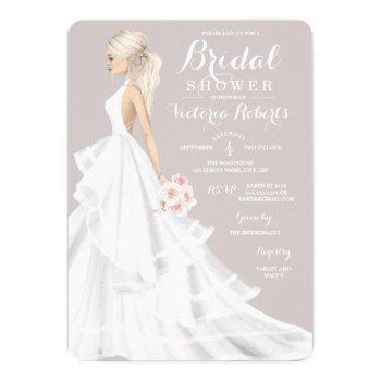 blonde bride wedding gown bridal shower invitation