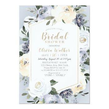 blooming botanical dusty blue floral bridal shower invitation