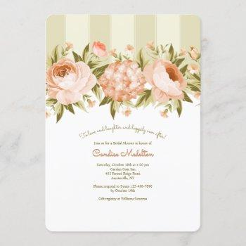 blooming roses and hydrangea bridal shower invitation