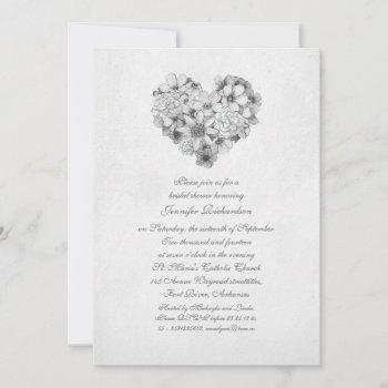 blossoms flowers heart vintage bridal shower invitation