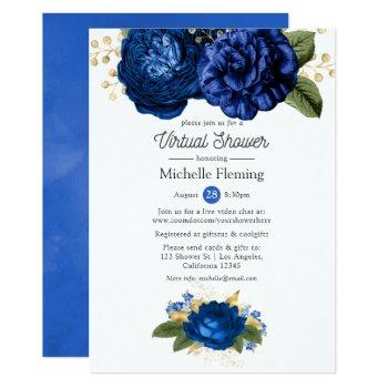blue and gold floral virtual baby or bridal shower invitation