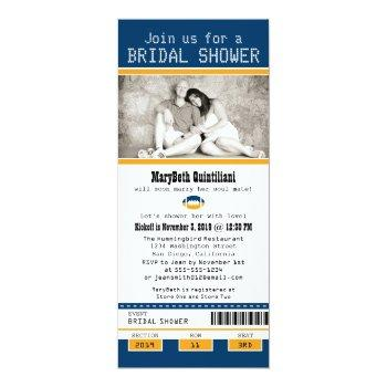 blue and gold football ticket bridal shower invitation