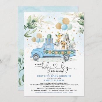 blue and gold jungle safari drive thru baby shower invitation