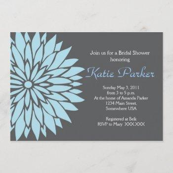 blue and grey dahlia flower invitation