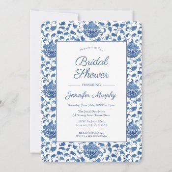 blue and white antique chinoiserie bridal shower invitation